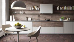 Cuisine Valcucine Forma Mentis cuisine avec porte coulissante en verre et finition en bois de mélamine | Cuisiniste Nice |Massimo Cucine