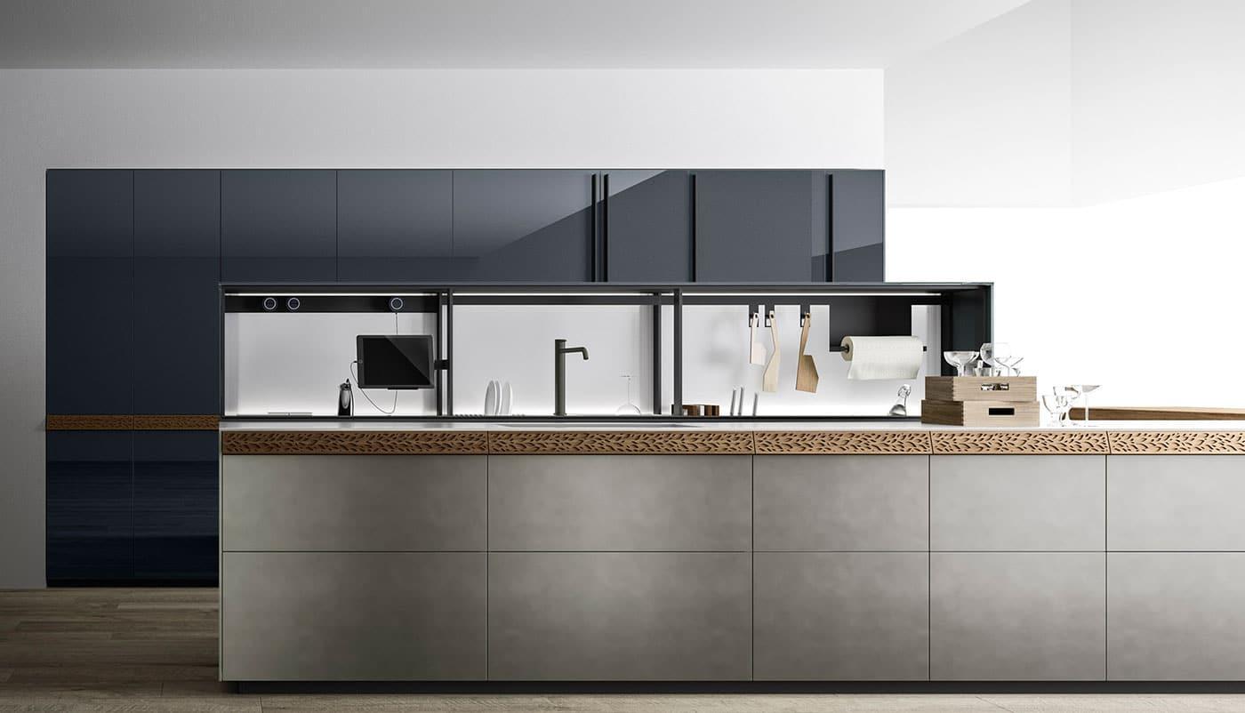Cuisine Valcucine Genius Loci Zinc Titanium Brossé avec tiroir à encoche | Cuisiniste Nice | Massimo Cucine