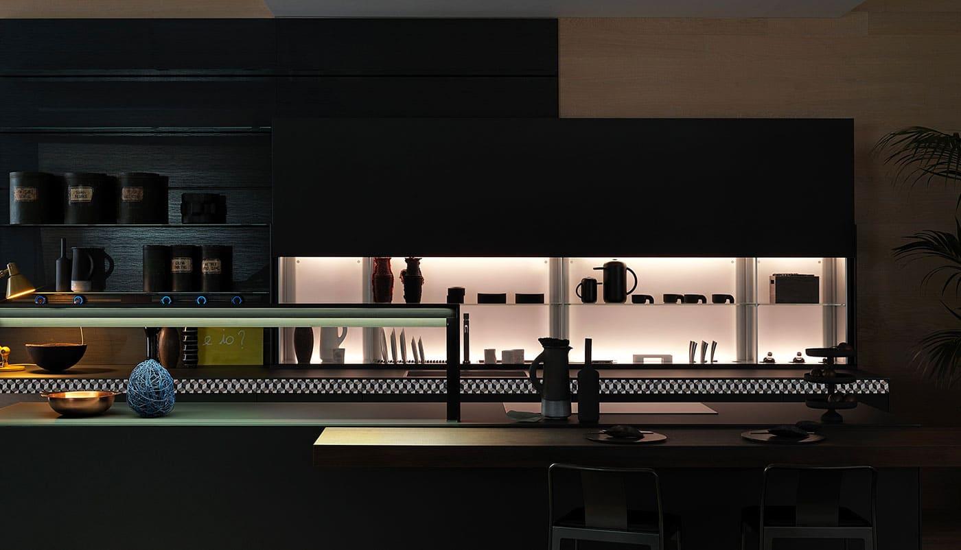 Cuisine Valcucine Genius Loci Vitrum ardoise mat V-Motion | Cuisiniste Nice | Massimo Cucine